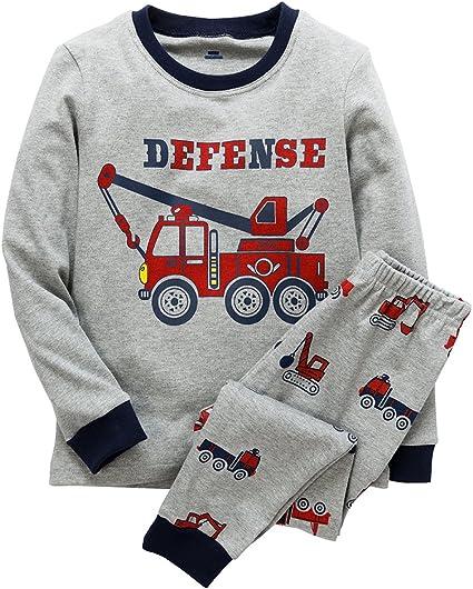 B.GKAKA Boys Pajamas Print-Car or Glow-in-The-Dark Dinosaur Astronaut Kids Cotton Sleepwear 2 Piece