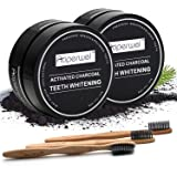 Teeth Whitening (2 Pack)– Auperwel Activated Charcoal Toothpaste Teeth Whitening Powder with 3 Bristles Bamboo Toothbrushes (Teeth whitening) (teeth whitening)
