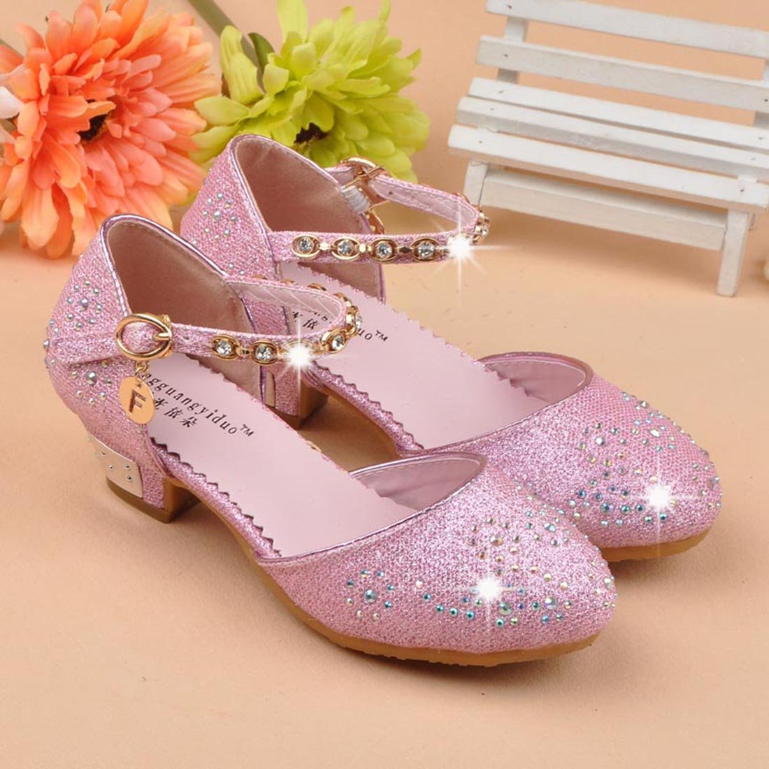 454997cb9536 O N Girls Kids Childrens Low Heel Party Wedding Mary Jane Sandals School  Shoes larger image