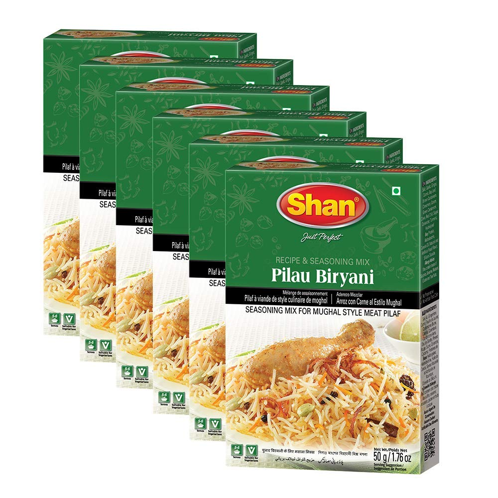 Shan Pilau Biryani Recipe and Seasoning Mix 1.76 oz (50g) - Spice Powder for Mughal Style Meat Layered Pilaf - Suitable for Vegetarians - Airtight Bag in a Box (Pack of 3)