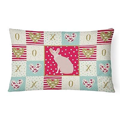 Caroline's Treasures CK5795PW1216 Sphynx #2 Cat Love Canvas Fabric Decorative Pillow, 12H x16W, Multicolor : Garden & Outdoor
