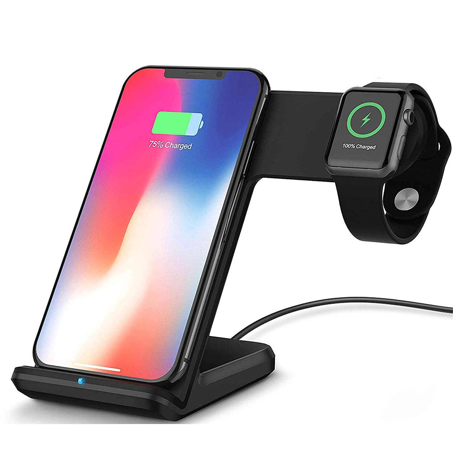 Bysionics Wireless Charger,2 in 1 Fast Qi Phone Wireless Charging Stand /& Wireless Charging Dock Compatible for Apple iWatch Series 4//3//2//1 Black