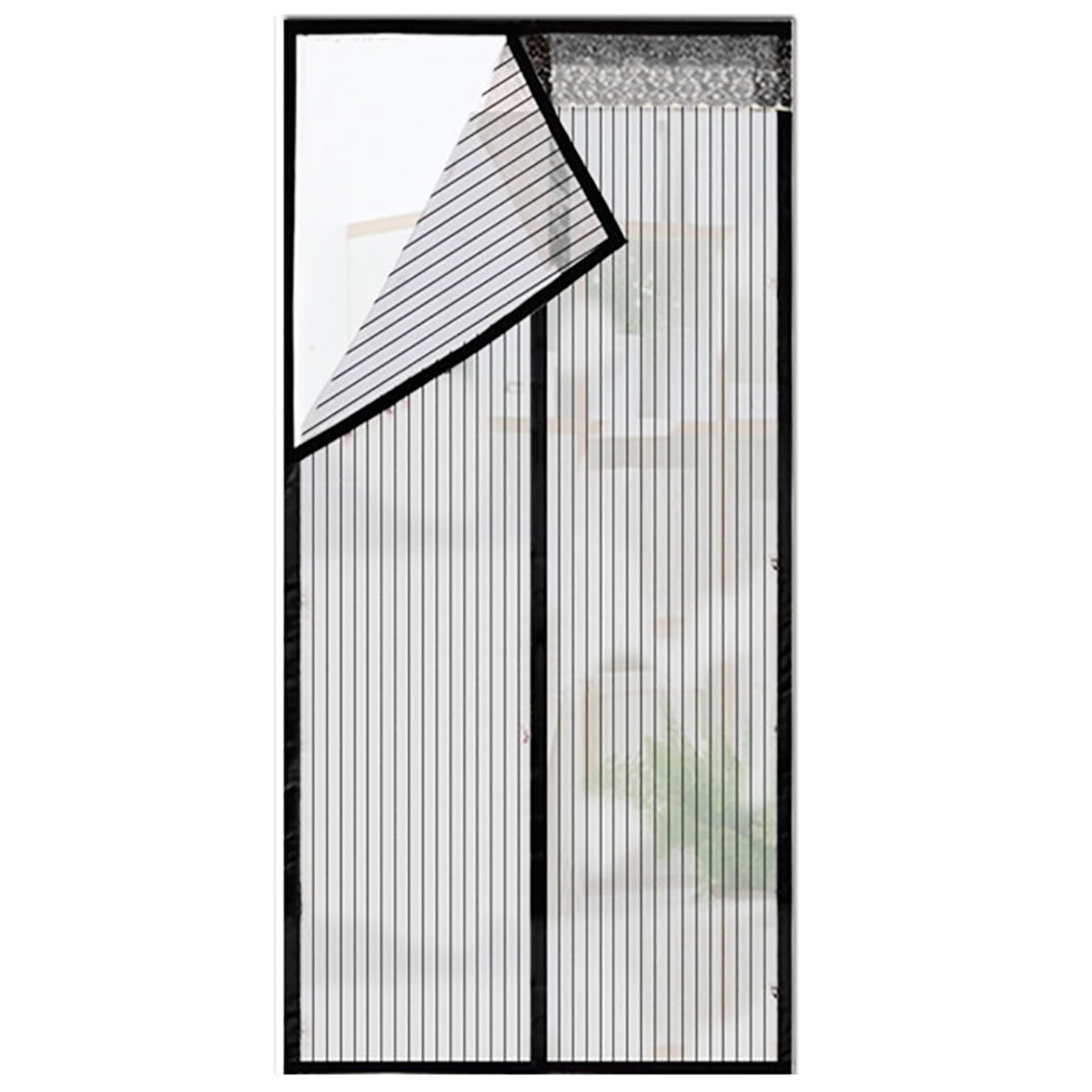 Q&F Magnetic Screen Door,Mesh Curtains For French Doors,Sliding Doors,Garage,Fishing Boat,Super Quiet,Hands Free-let Fresh Air In-black 120x260cm(47x102inch)