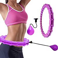 Smart Hula Hoop for Adults and Kids Exercise, Smart Weighted Hoola Hoop Weight Loss 2 in 1 Abdomen Massage 360°Auto…