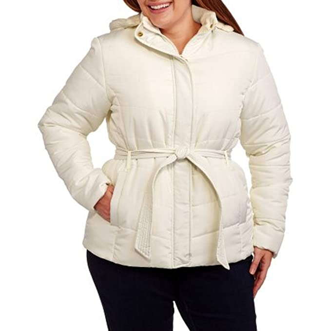 b7ae1d1270d50 Climate Concepts Women s Plus-Size Belted Hooded Puffer Coat with Faux Fur  Trim  Amazon.ca  Clothing   Accessories
