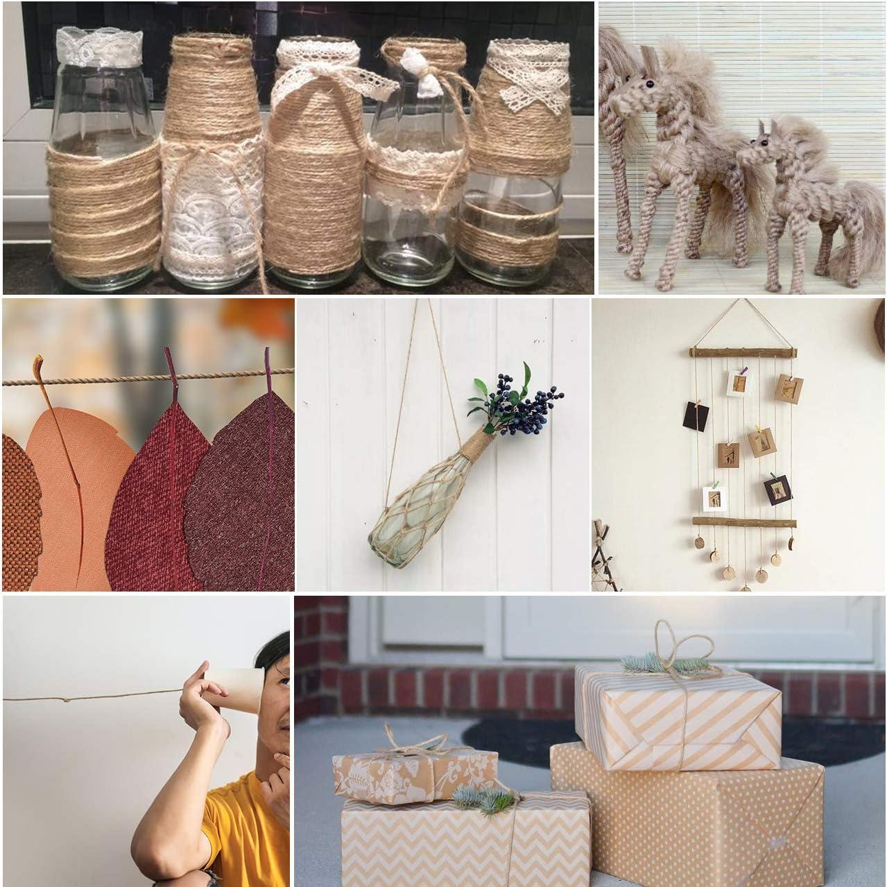 2 Pcs 200 Yard Jute Twine Natural Jute Rope Industrial Packing Materials Packing String for Gifts DIY Crafts Decoration Bundling Gardening