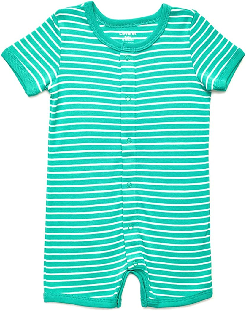 Leveret Baby Romper Boys Girls Short Sleeve Stretchie Pajamas 100/% Cotton Variety of Colors 3-24 Months