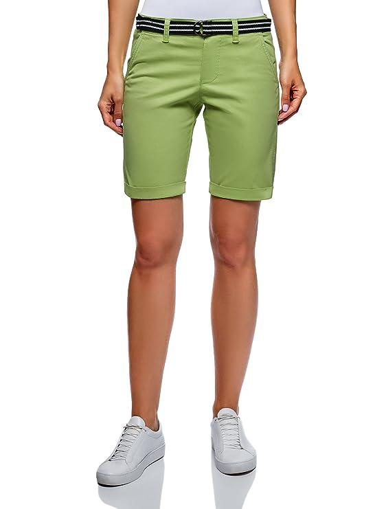 oodji Ultra Mujer Pantalones Cortos de Algodón con Cinturón y Cierre de Botones