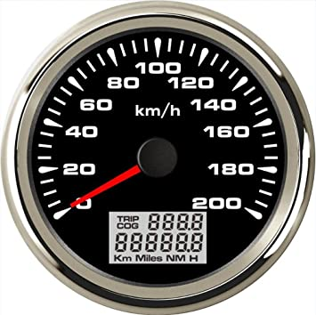 ELING Waterproof GPS Speedometer Odometer 200KM//H for Car Motorbike Buggy with Backlight 85mm 12V//24V