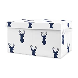 Sweet Jojo Designs Navy Blue Deer Boy Baby Nursery or Kids Room Small Fabric Toy Bin Storage Box Chest for Woodland Deer Stag Collection