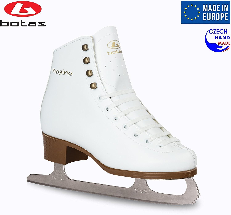 Botas – Model Regina Made in Europe Czech Republic Figure Ice Skates for Women, Girls, Kids Nicole Blades White Color