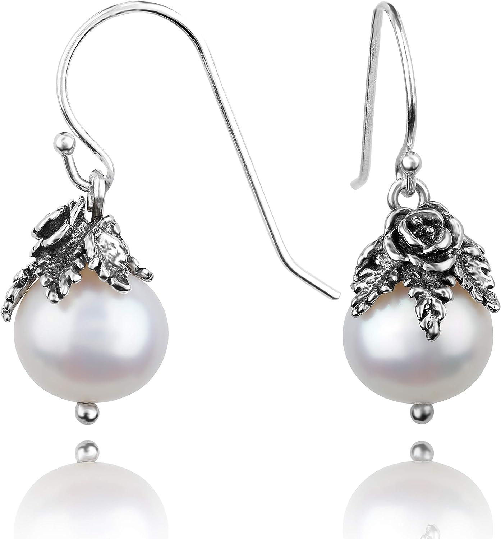 PAZ Creations .925 Sterling Silver Pearl Dangle Earrings