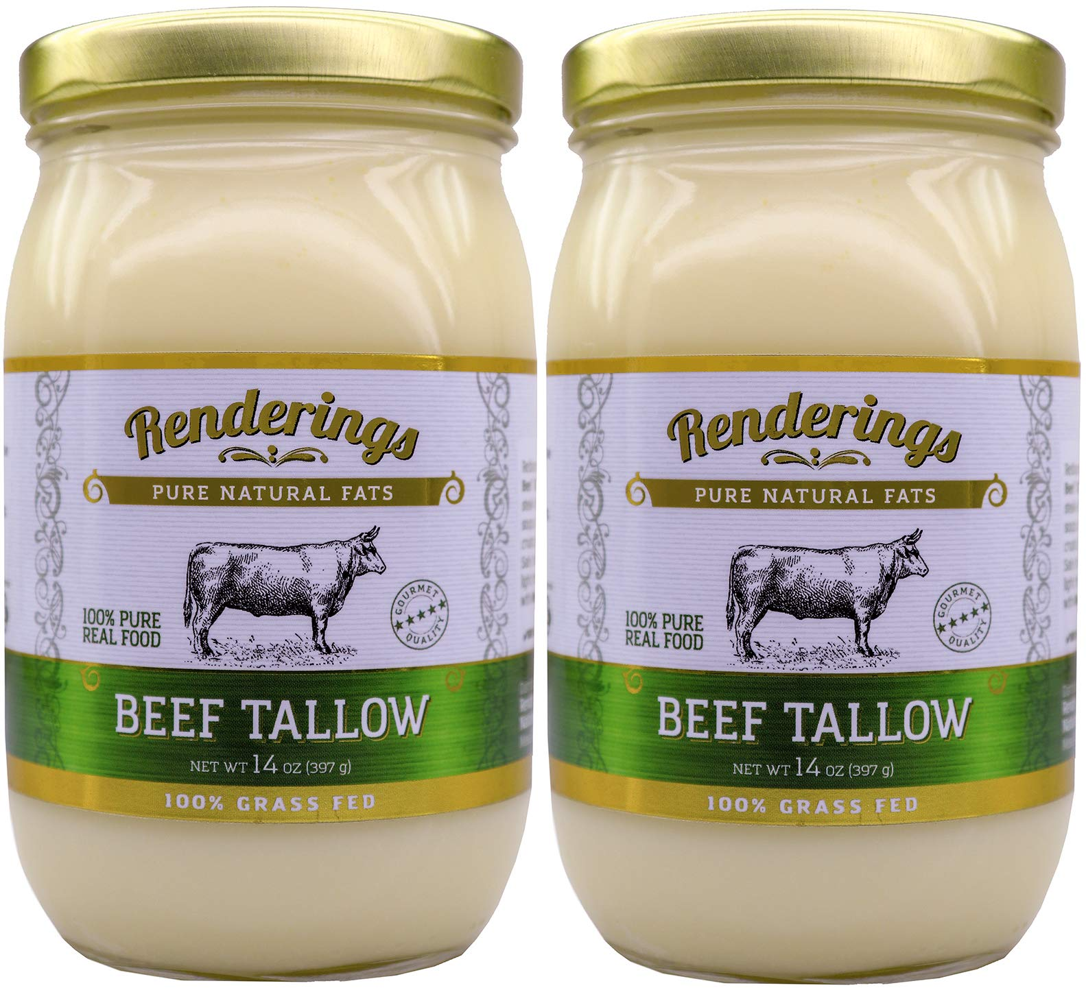 Rendering's Beef Tallow, 100% Grass-Fed & Finished, Cooking, Baking and Frying, 14 oz jar (2-Pack)