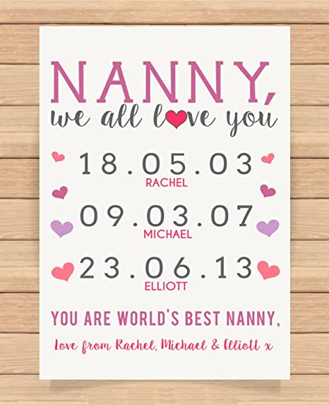 Personalised Presents Gifts For Grandma Nanny God Mother Birthday Mothers Day Christmas Xmas Childrens Birth Dates
