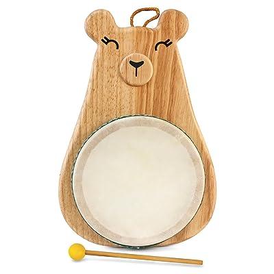 Green Tones / Award-Winning Momma Bear Drum with Mallet, Multicolor, Model:3718: Musical Instruments