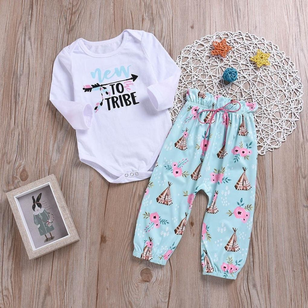 kaiCran New to Tribe Newborn Baby Girls Letter Print Long Sleeves Romper+Print Pants Sweet Set Outfit