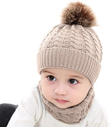 Toddler Winter Hat Scarf Set for Infant Baby Girl Knitted Warm Fleece Lined Skiing Cap Lovely Pompom Kids Beanie 0-24 Months
