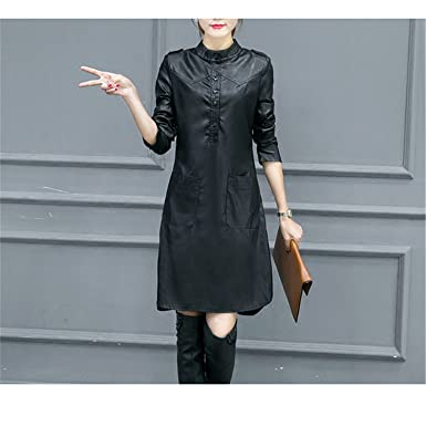 Stevenurr Popular,Hot Sell Autumn PU Leather Dress Women Plus Velvet Vestidos Shirt Dress Plus