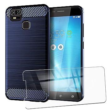 QFSM Funda + Cristal Templado para ASUS Zenfone 3 Zoom ZE553KL Silicona Carcasa TPU Anti-Knock Fibra de Carbono Cover Case Azul Oscuro, HD Película ...