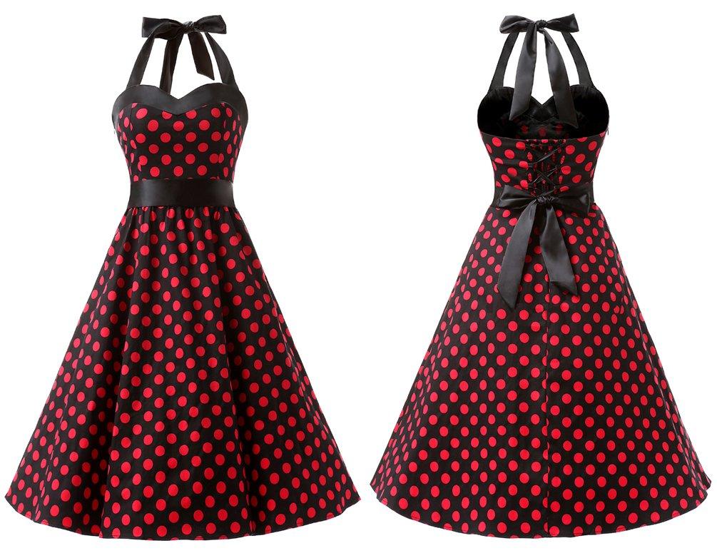e94f6448f DRESSTELLS Vintage 1950s Rockabilly Polka Dots Audrey Dress Retro Cocktail  Dress Black Pink Dot M < Dresses < Clothing, Shoes & Jewelry - tibs