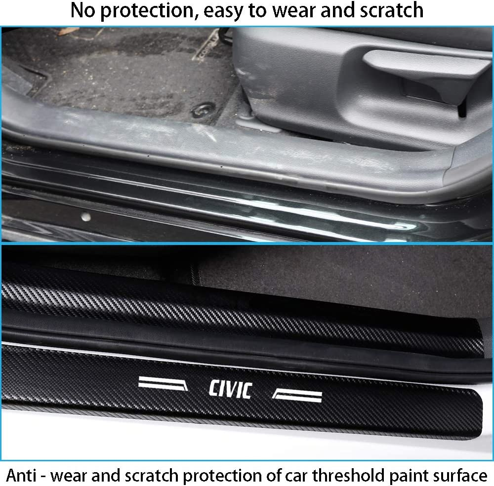 Red Stroller Car Door Sill Protector Civic Car Door Sill Decoration Scuff Plate Carbon Fiber Sticker for Honda Civic