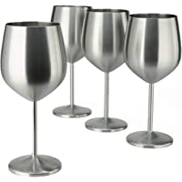 PG Stainless Steel Stem Wine Glass - Set of 4 - Brush Finished - 18.5oz