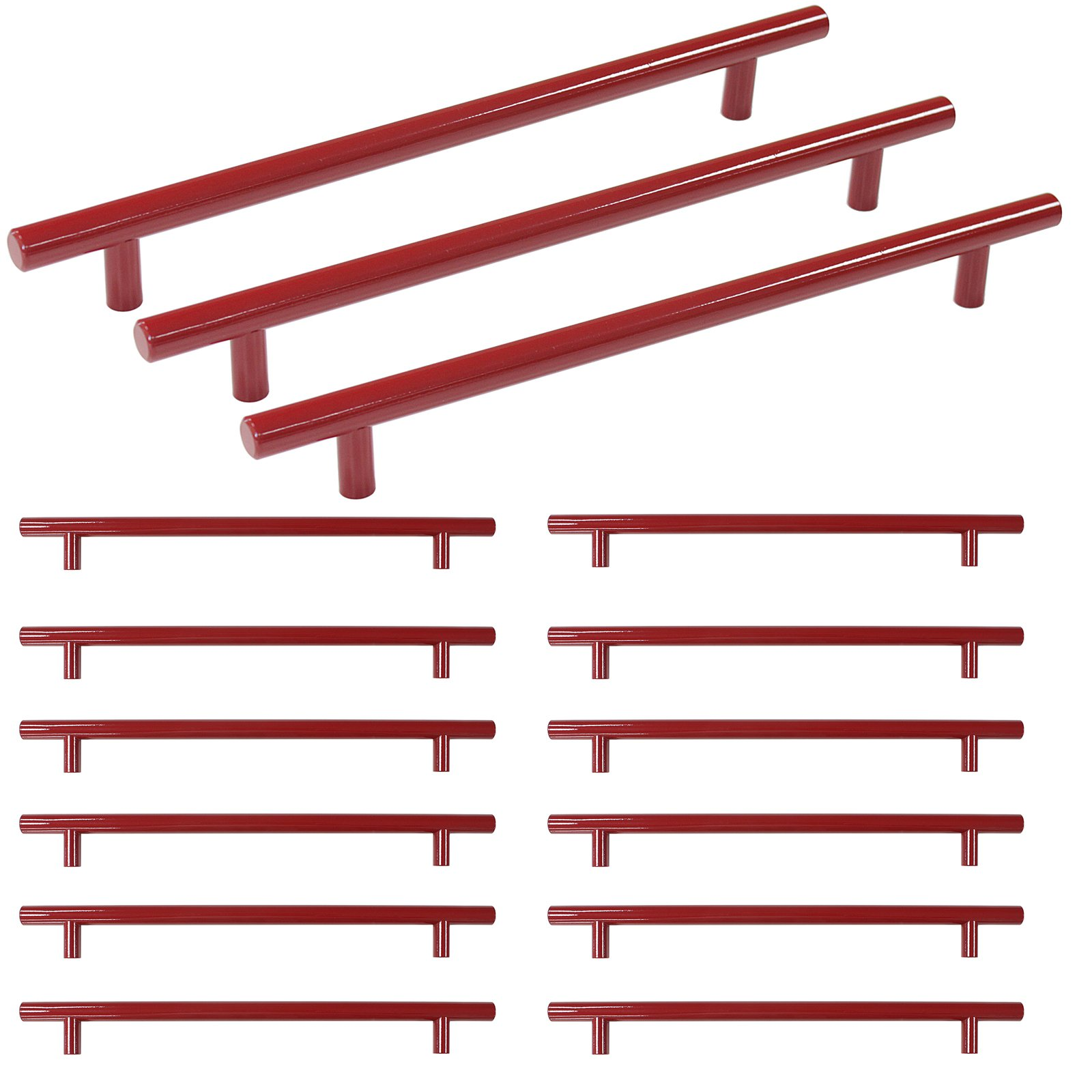 Probrico Stainless Steel Bathroom Drawer Kitchen Cupboard T Bar Dresser Gold Handle Pulls Set - 8-4/5 Inch Hole Centers,Red,15 Pack