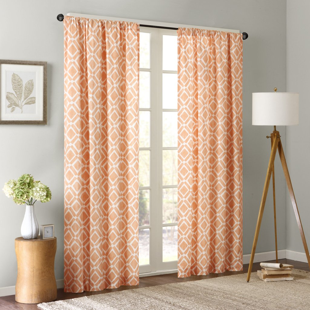 Delray Diamond Window Curtain Orange