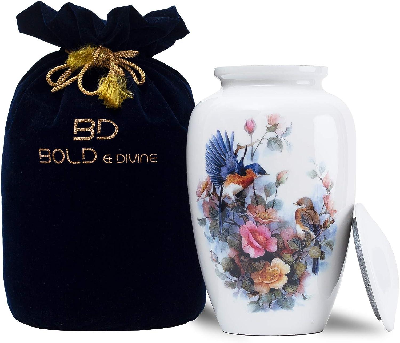 BOLD & DIVINE Adult Cremation Urn | Cremation Urn for Human Ashes, Adult Urns for Ashes, Cremation Urns for Adult Ashes (Large/Adult Urn) with Unique Velvet Bag for Your Loved One