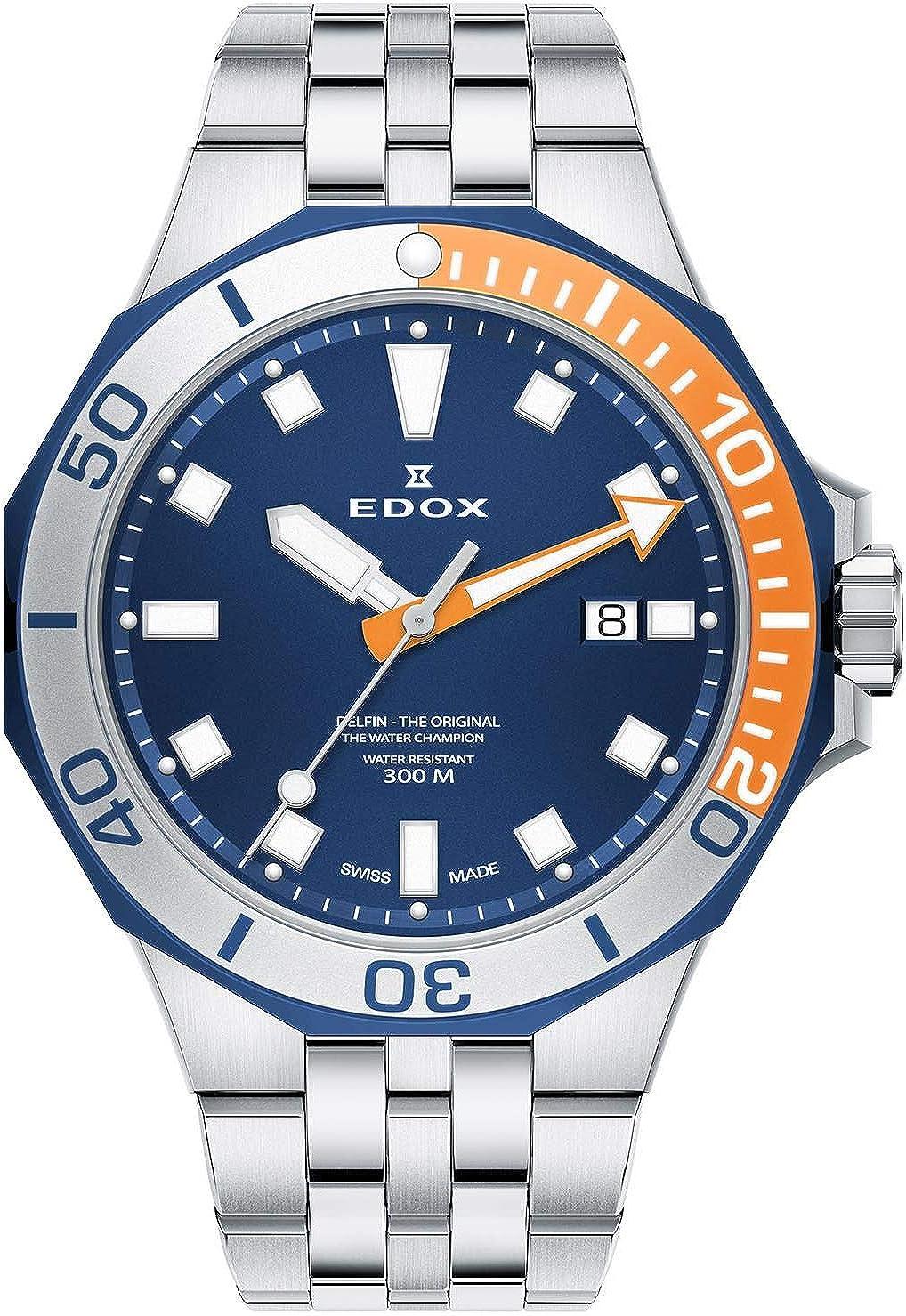 Edox Delfin 53015 357BUOM BUIN - Reloj de Cuarzo para Hombre (43 mm, Correa de Metal Plateada, Caja de Acero)