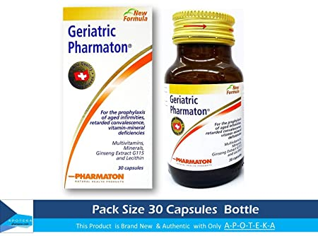 Pharmaton Geriatric 30 Capsules To Prophylaxis of Aged Infirmities Retarded Convalescence Stress Fatigue Tiredness Exhaustion Ageing Concentration Memory Capsules Ginseng G115 Optimal Physical and Mental Performance Ideal Size 1 Month for Taking