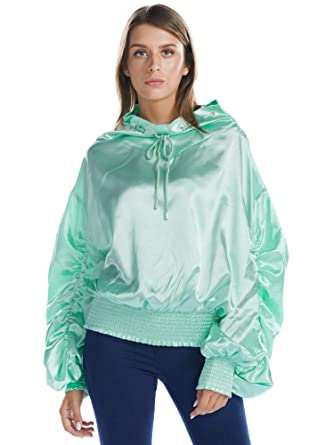 fde08cd3dc35c9 BARGOOS Women Mock Neck Oversized Blouse Shiny Metallic Sparkle Ruffle Long  Frill Sleeve Sweatshirt Pullover Tops
