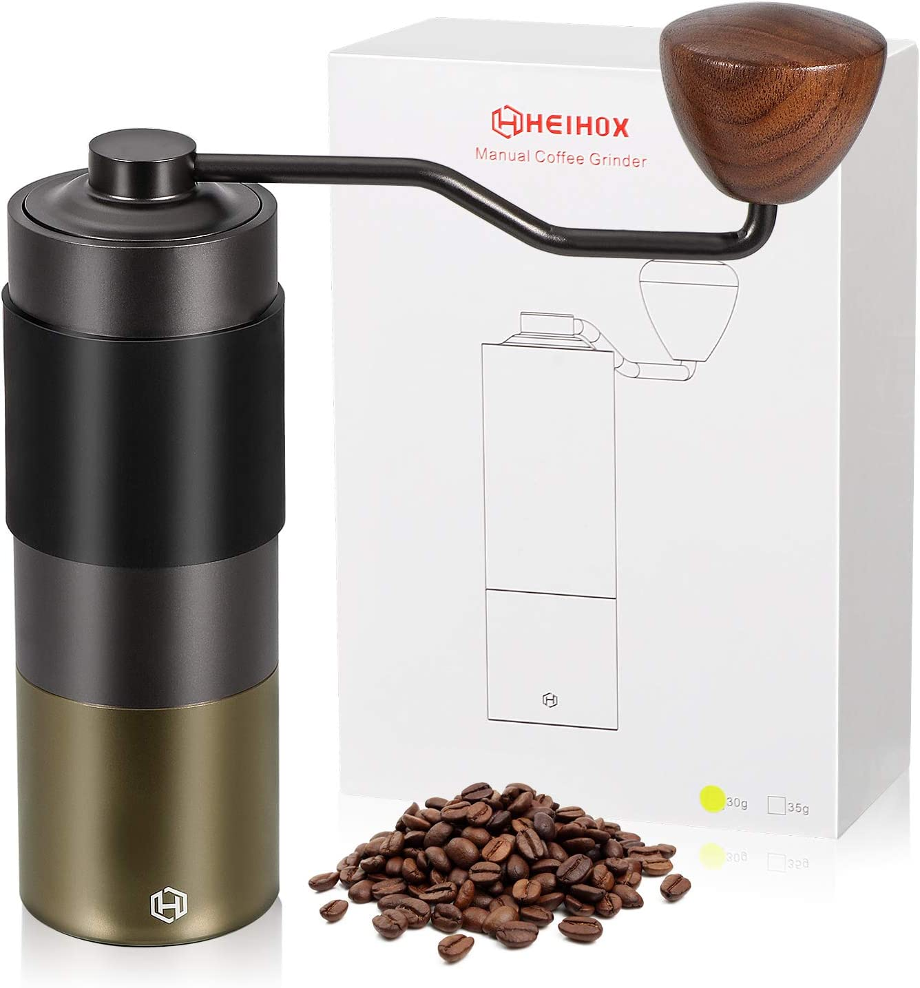 French Press Hand Held Burr Bean Grinder Stainless Steel Hand Crank Mill Offers Consistency and Precision with Adjustable Ceramic Conical Drip Coffee Espresso Turkish Brew Manual Coffee Grinder