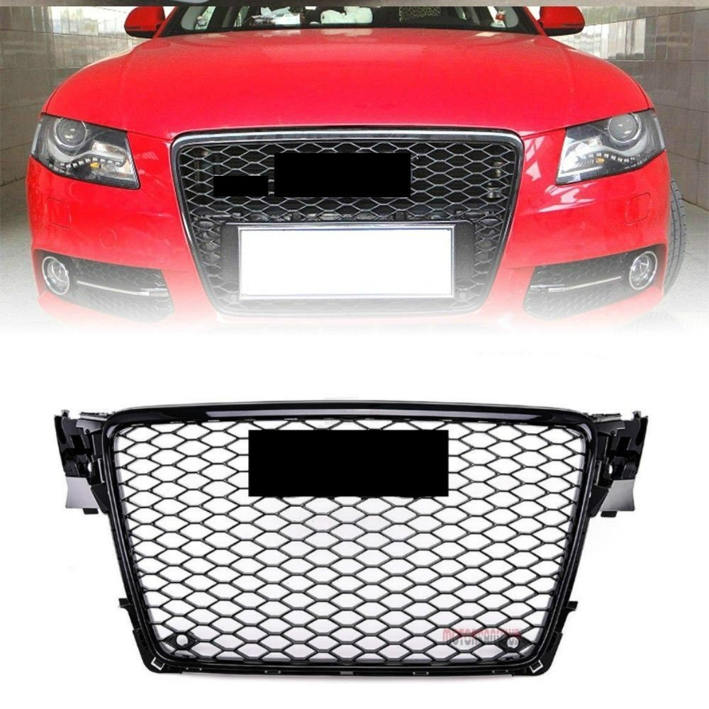 Front Grille Sport Gloss Black Henycomb Mesh Bumper Grill for A4 S4 B8 RS4 Style 2009-2012 MOTORFANSCLUB