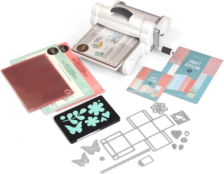 Sizzix Big Shot Plus Starter Kit, máquina de Corte y Repujado Manual con Troqueles Bigz L, Thinlits Y Framelits, Carpeta para Embossing y cartulina, tamaño A4 (21 cm), Multicolor, Única