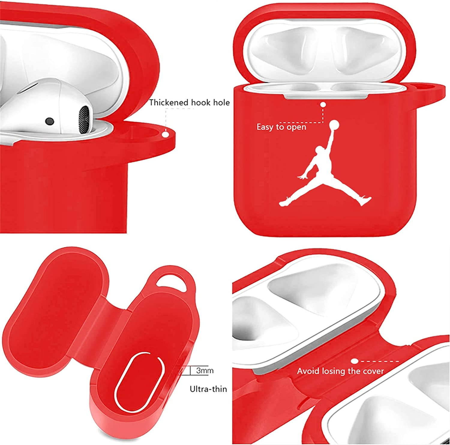 3D Luxury Fashion Sport Style Character Silicone Airpod Cover Stylish Designer Cases for Girls Kids Teens Boys Air pods Fun Cool Keychain Design Skin Red Adi Mulafnxal for Airpods 1/&2 Case