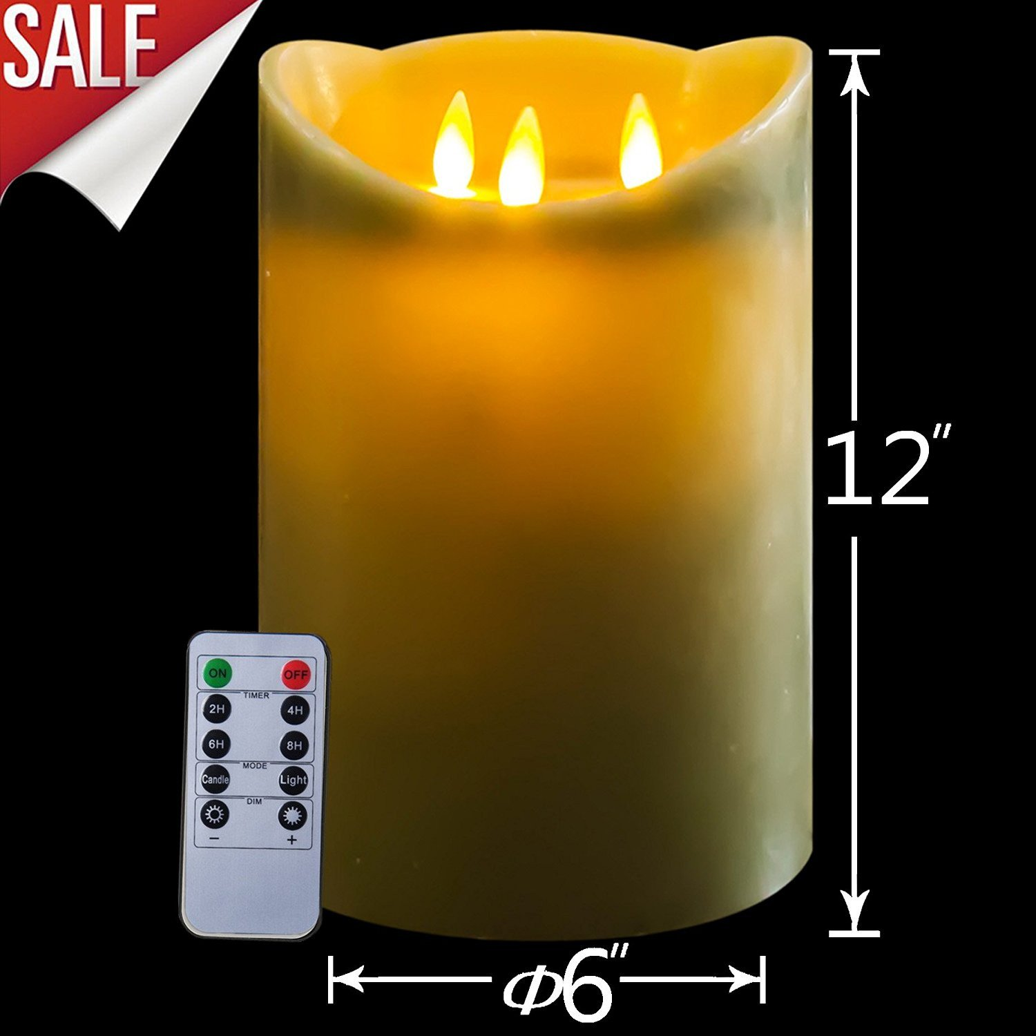 12 inch 3-wicks Flamless Candles with Remote Control & Timer