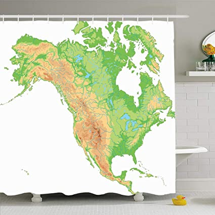 Amazon.com: Ahawoso Shower Curtain 72x78 Inches Terrain ...