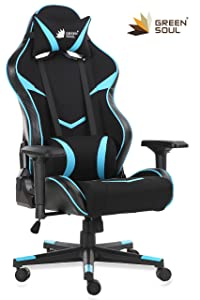 Green Soul Monster Series Gaming Ergonomic 180° Back Recline Chair (Black and Blue, Large)