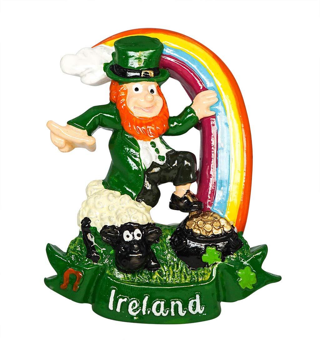Souvenir da Viaggio Regalo per la casa e la Cucina zamonji Leprechaun Irlanda Calamita da Frigorifero 3D in Resina