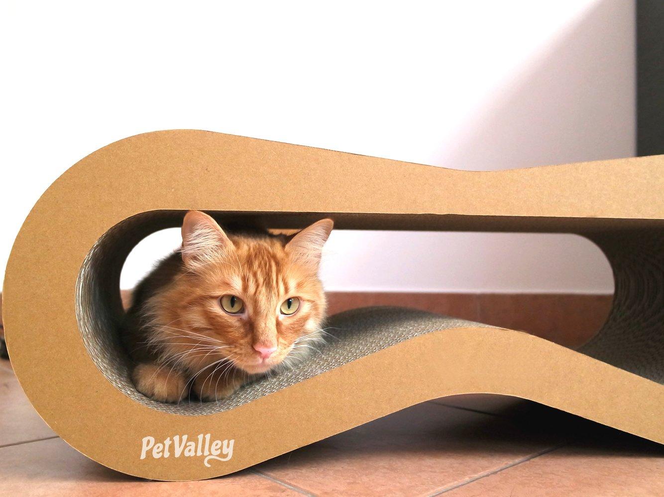 PetValley Arañador para gatos, producto de diseño, de cartón ondulado, fabricado en Italia, ideal como cama, lugar de ejercicios y donde afilarse las ...