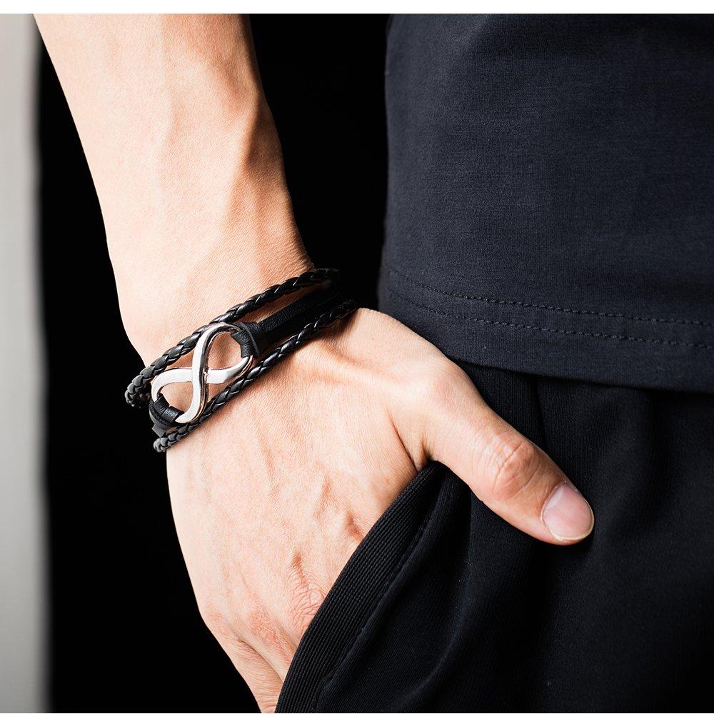 19cm Bracciale intrecciato in pelle intrecciata in acciaio inossidabile con 2 pezzi Bracciale intrecciato in acciaio intrecciato con 3 file uomo Bracciale in pelle intrecciata con fibbia