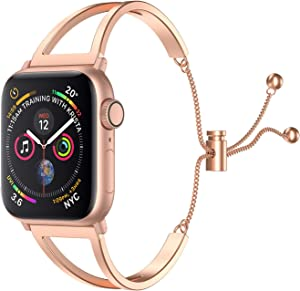 SamHity Stainless Steel Watch Bands Compatible for Apple Watch Series 6/5/4/3/2/1 SE 38mm 40mm 42mm 44mm Jewelry Style Classic Cuff Bracelet Replacement Band Suitable for Women (38mm 40mm, Rose Gold)