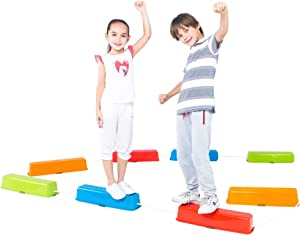 Special Supplies Balance Beams Stepping Stones for Kids, 8 Pc. Set, Non-Slip Textured Surface and Slip Resistant Floor Rubber Edges, Promote Agility, Strength, Active Play