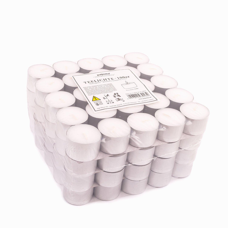 Pajoma Lot de 100 Bougies Chauffe-Plat Non-parfumé es Duré e de Combustion 8 Heures
