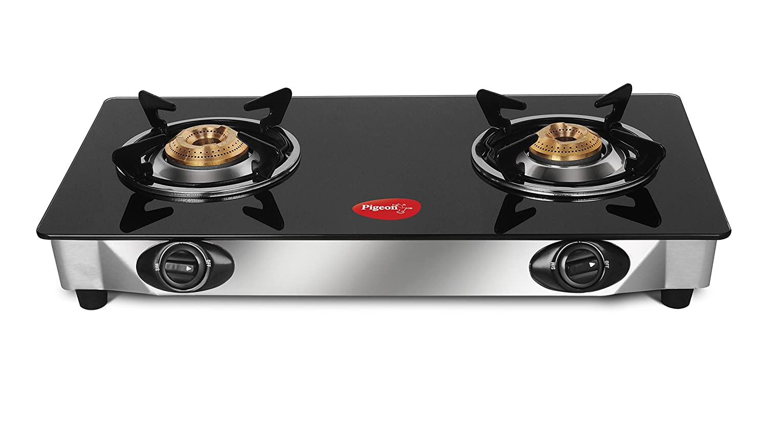 2717beec81828 Buy Pigeon By Stovekraft Favourite 2-Burner Glass Top Gas Stove ...