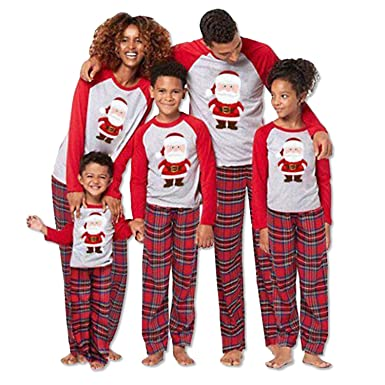 3ab5f9b08056 Matching Christmas Family Santa Pajamas for Mom Dad Kids Sleepwear Set  Nightwear  Amazon.co.uk  Clothing