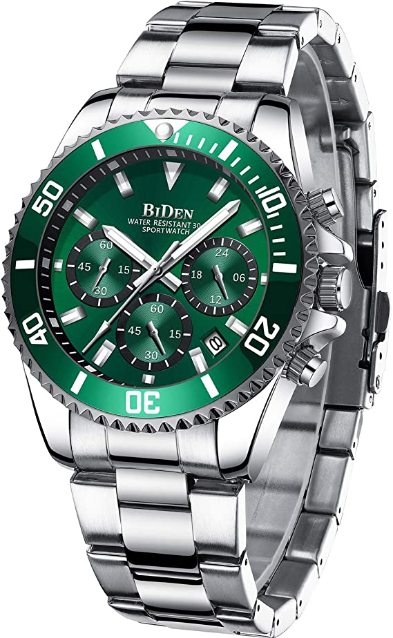 Amazon.com: Mens Watches Chronograph Green Stainless Steel Waterproof Date  Analog Quartz Watch Business Casual Fashion Wrist Watches for Men: Watches