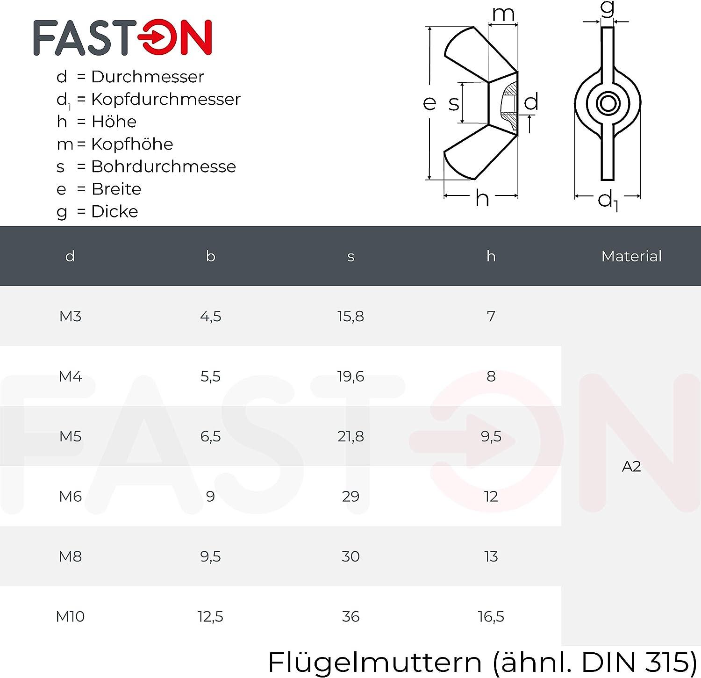 Fl/ügelmuttern M3 amerikanische Form 100 St/ück mit kantigen Fl/ügeln /ähnlich DIN 315 A2 Edelstahl