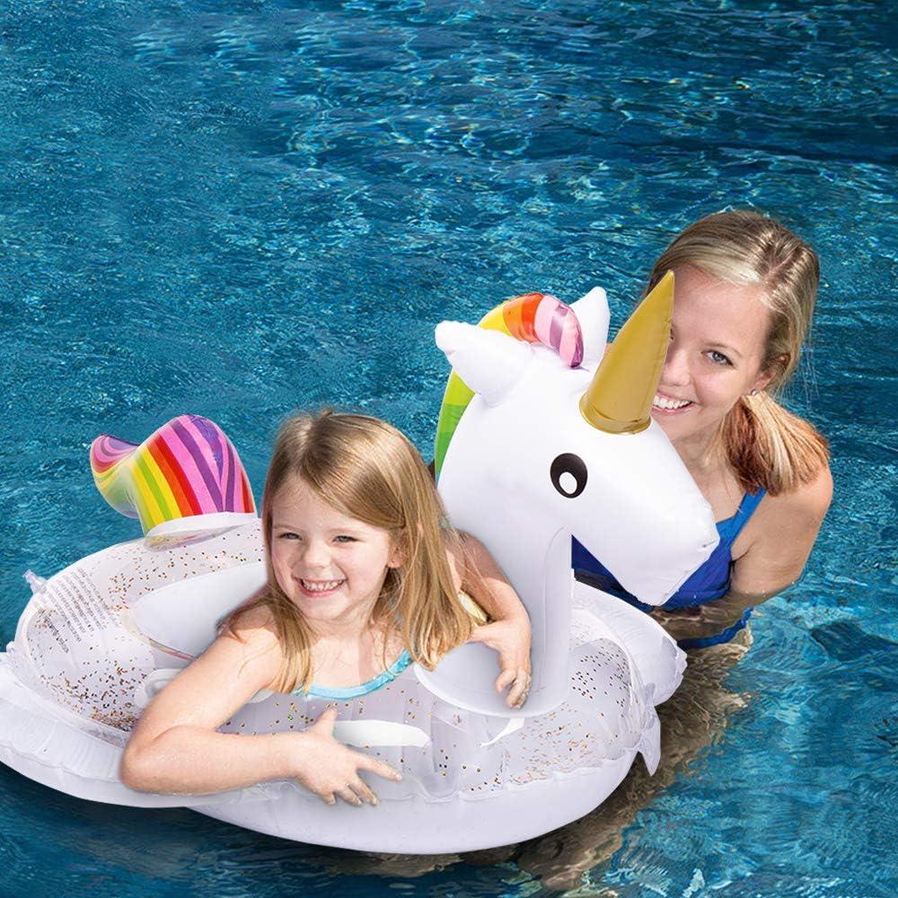 HANMUN Asiento para bebés Barco Flotadores para Nadar Niños Unicornio Piscina Inflable Tumbonas Bebé Diversión de Verano Piscina al Aire Libre Juguetes Balsa Flotante (Brillo Interior): Amazon.es: Juguetes y juegos